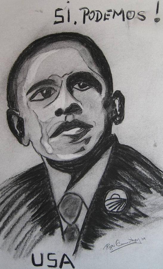 Portrait Painting - Obama by Roger Cummiskey
