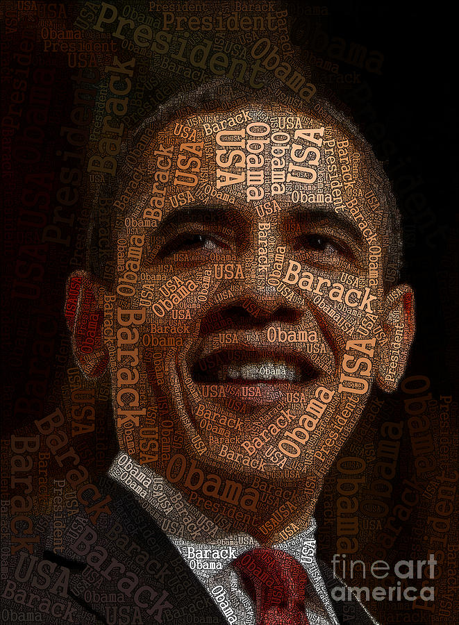 Obama Digital Art - Obama Typography Art by Boon Mee