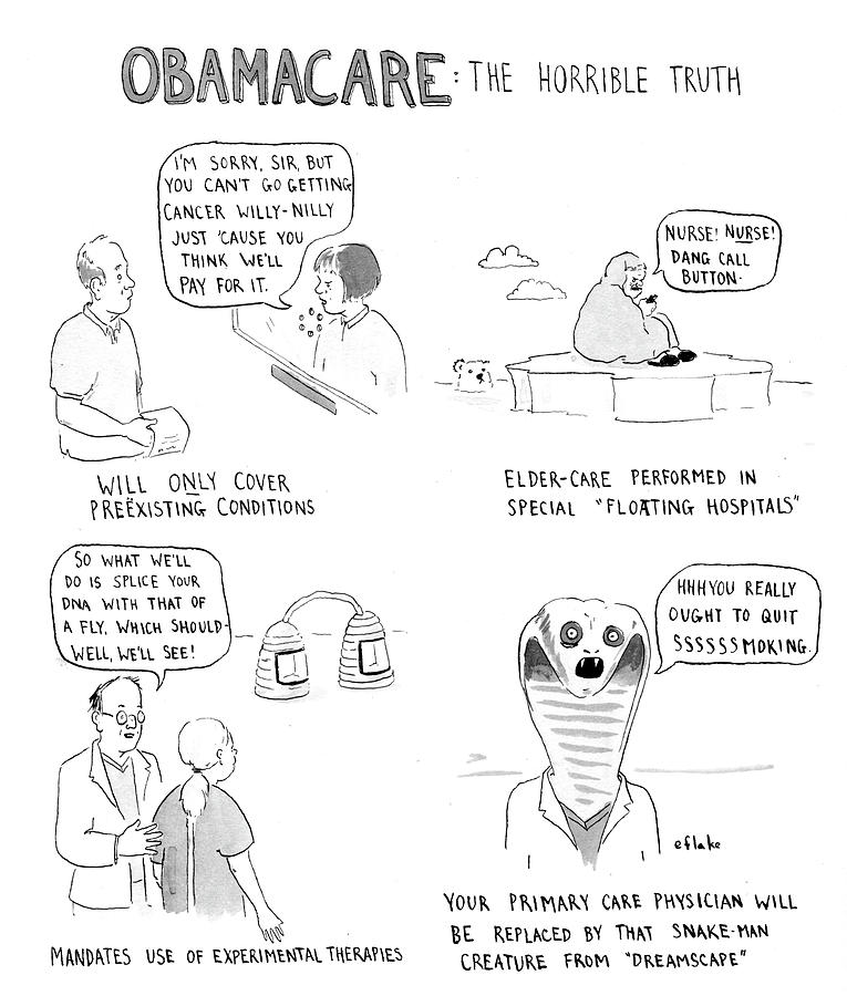 Obamacare The Horrible Truth Drawing by Emily Flake