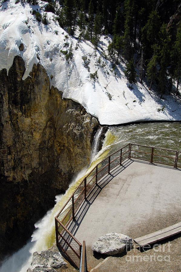Observation Platform Over Brink Of Lower Falls In