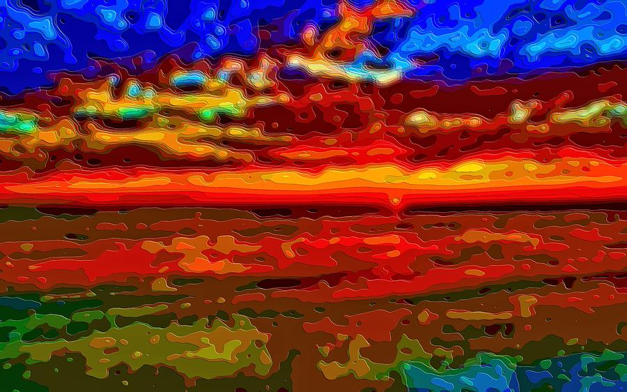 Sunset Digital Art - Landscape Ocean Sunset by Mary Clanahan