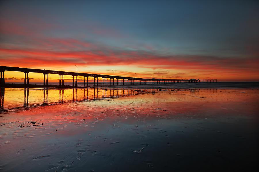 Sunset Photograph - Ocean Beach California Pier 3 by Larry Marshall