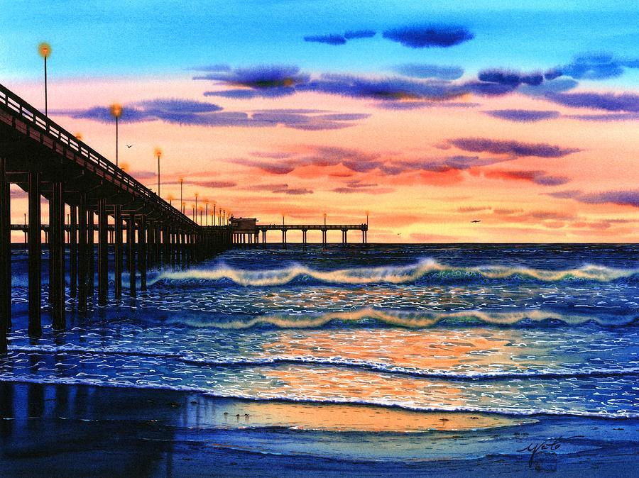 Ocean Beach Sunset Painting By John Yato