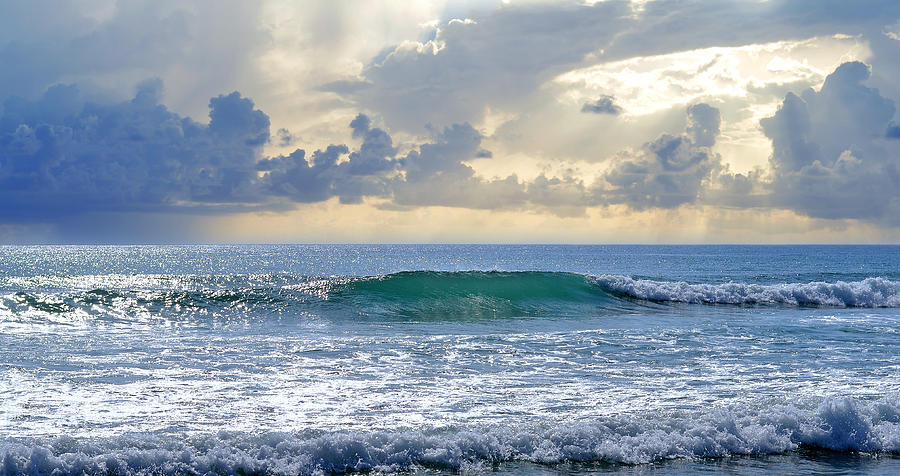 Blue Wave Photograph - Ocean Blue by Laura Fasulo