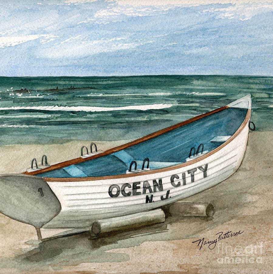 02684372b367 Ocean City Lifeguard Boat 2 Painting by Nancy Patterson