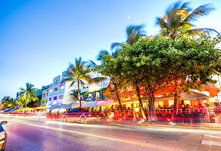Ocean Drive night scene at South Beach, Miami, USA Photograph by Pola Damonte via Getty Images