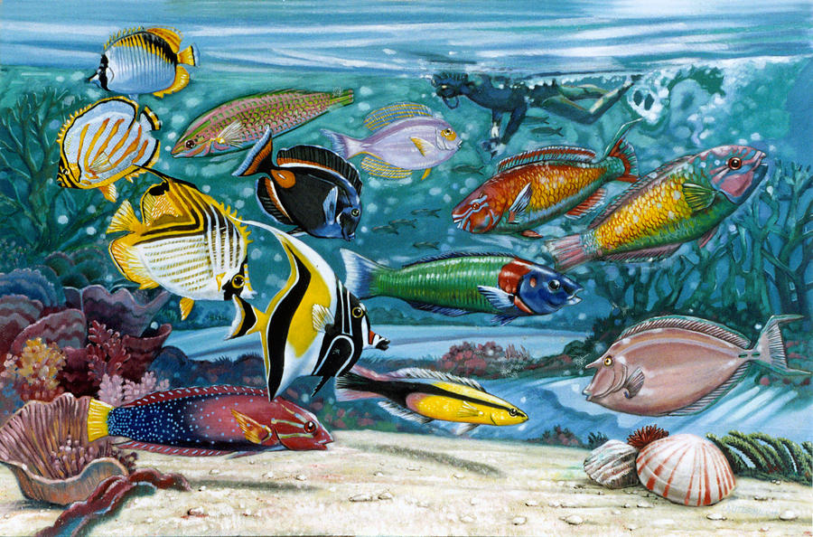 Fish Painting - Ocean Fish by John Lautermilch