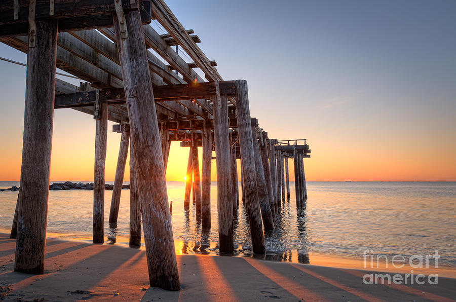 Landscape Photograph - Ocean Grove Pier Sunrise by Michael Ver Sprill