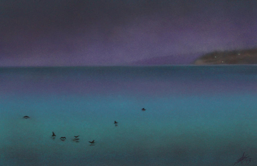 Nature Painting - Ocean of Glass with Seabirds by Robin Street-Morris