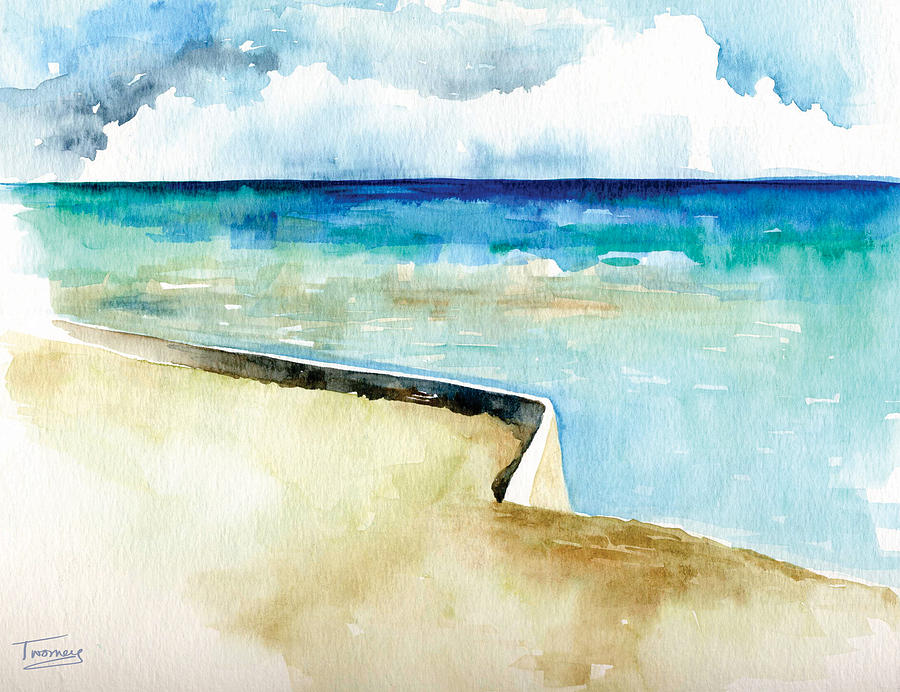 Turquoise Painting - Ocean Pier In Key West Florida by Catherine Twomey