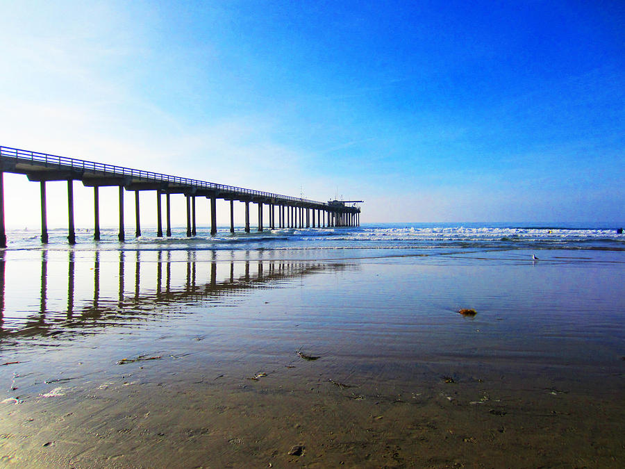Ocean Photograph - Ocean Pier Reflection by Christine Bell