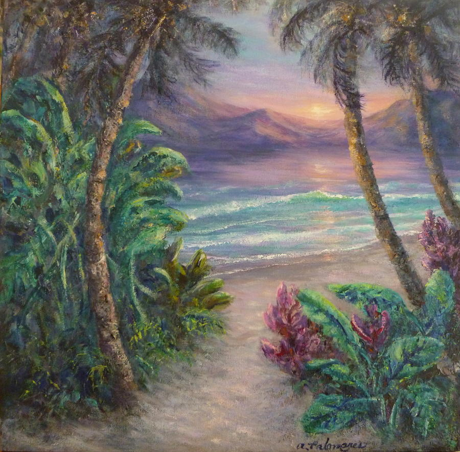 Ocean Sunrise Painting With Tropical Palm Trees Painting