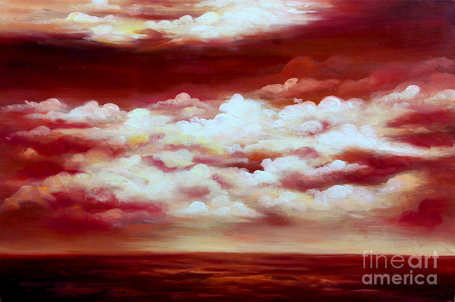Oil Painting Painting - Ocean Sunset - Abstract Oil Painting Original Modern Contemporary Art House Wall Deco by Emma Lambert