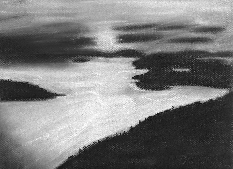 Ocean Drawing - Ocean Sunset by Angie Brown