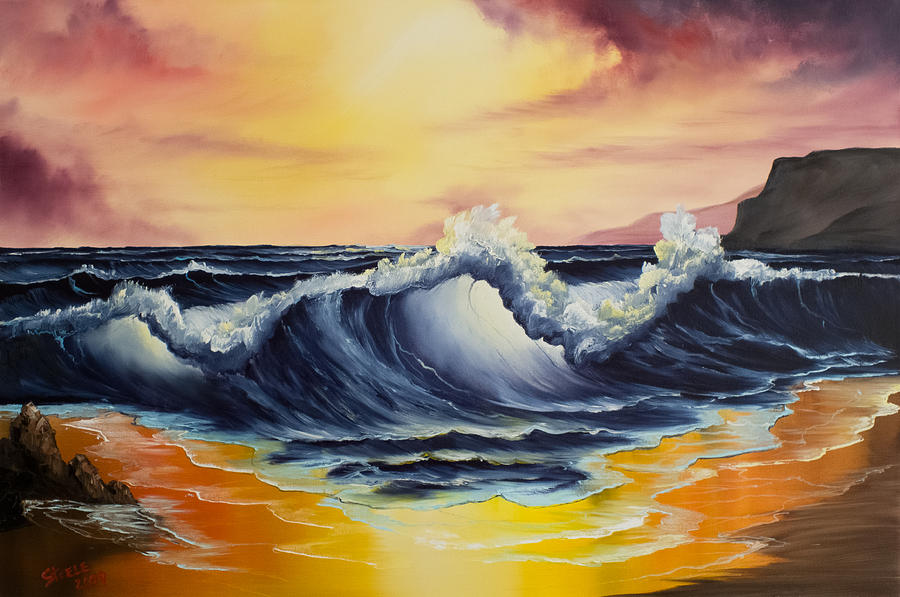 Seascape Painting - Ocean Sunset by C Steele