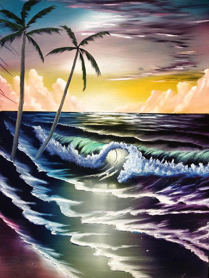 Ocean Painting - Ocean Sunset by Koko Elorm
