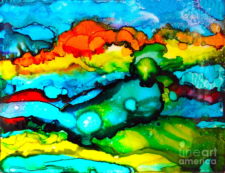 Alcohol Ink Painting - Ocean Tempest Tile by Alene Sirott-Cope