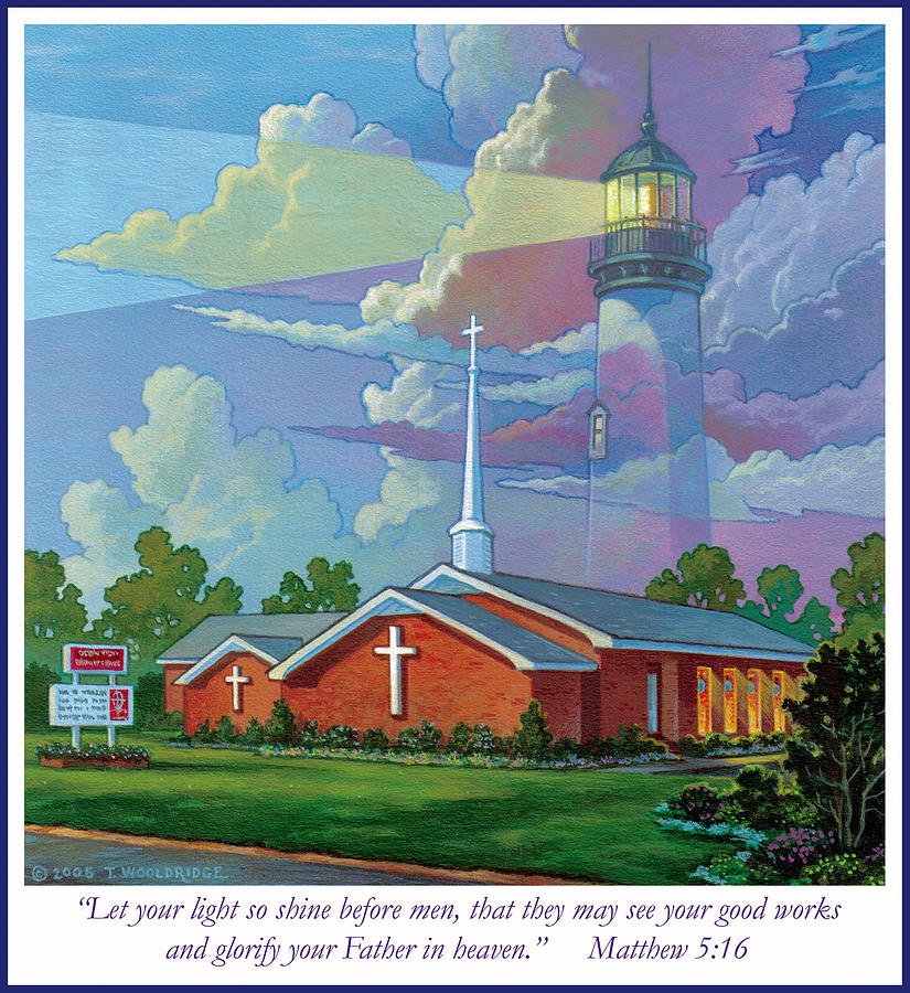 Landscape Painting - Ocean View Baptist Church by Tom Wooldridge