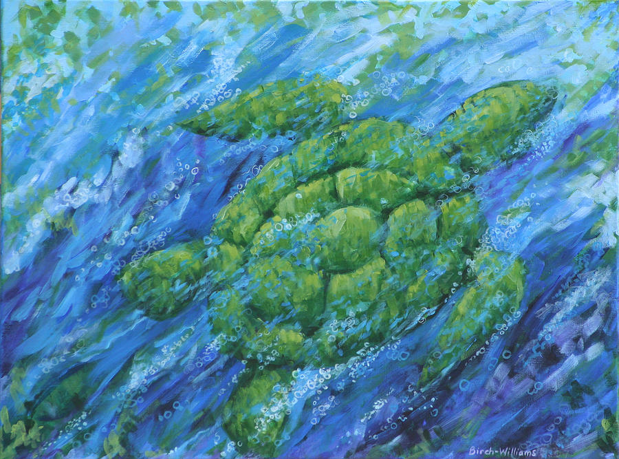 Turtle Painting - Ocean Voyager by Penny Birch-Williams