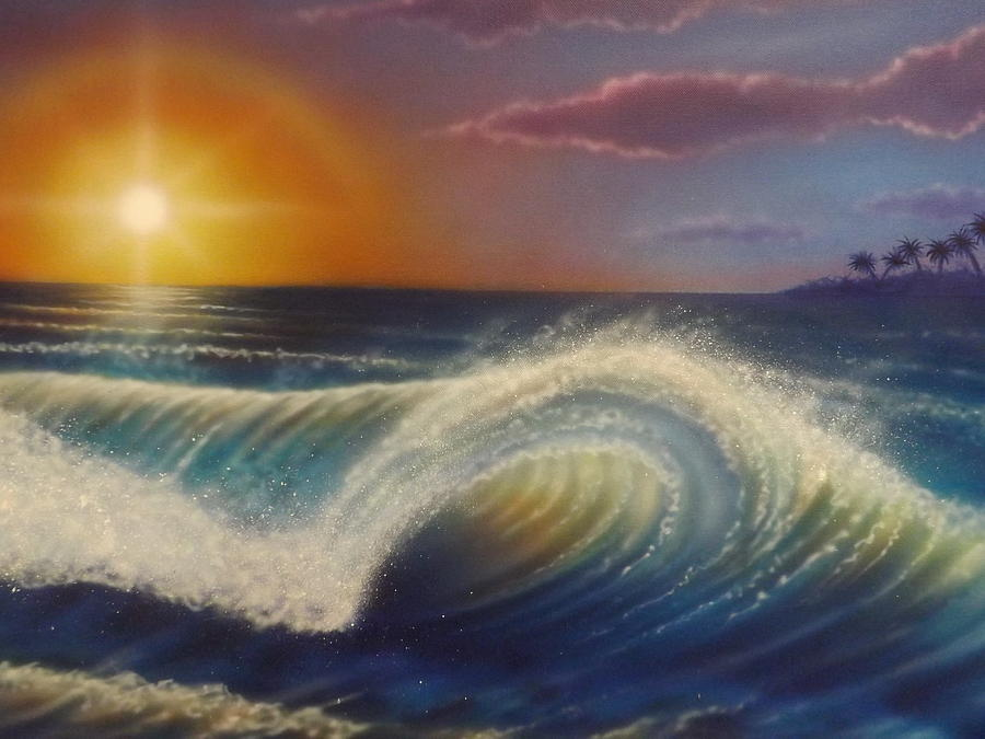 Ocean Wave Painting by Darren Robinson