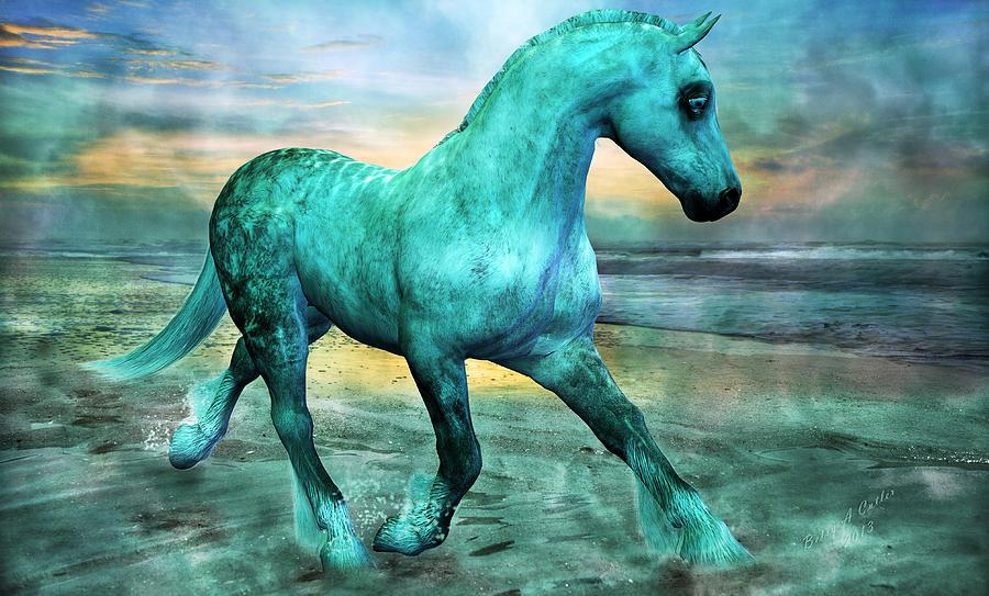 Horse Mixed Media - Ocean Wave by Betsy Knapp
