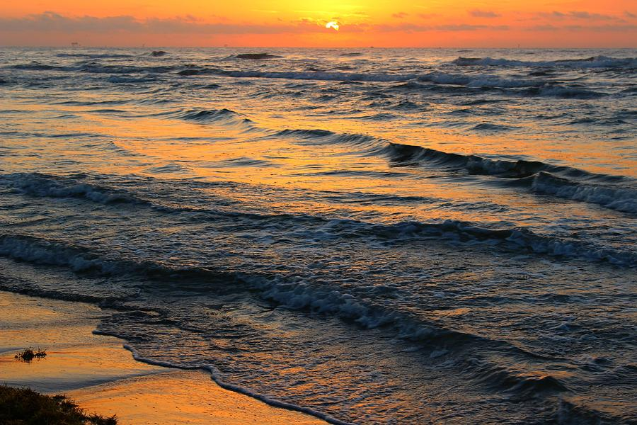 Ocean Photograph - Beach Wave Sunrise by Candice Trimble