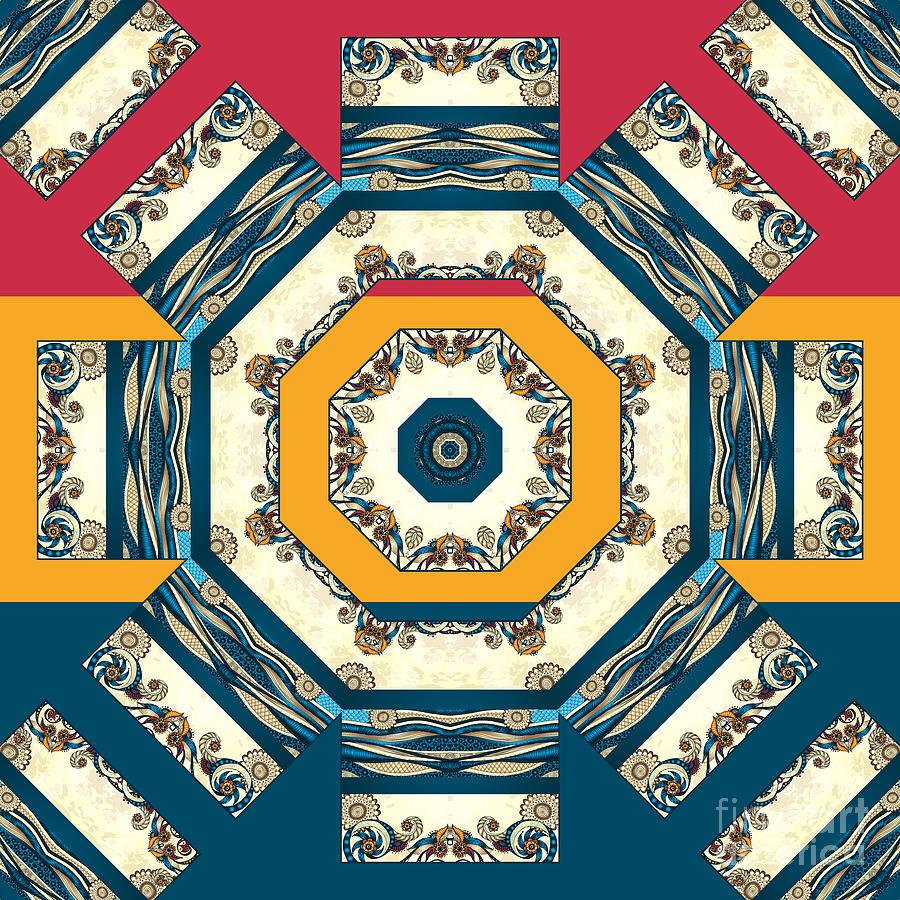 Mandala Digital Art - Ocean Waves Mandakal 01cm22 by Aimelle