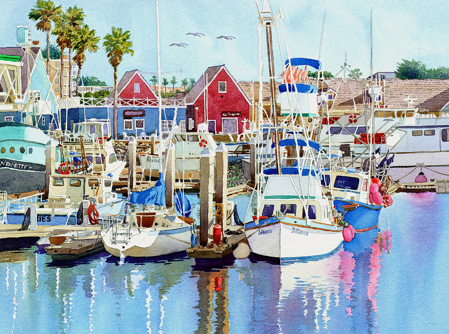 Boating Painting - Oceanside California by Mary Helmreich