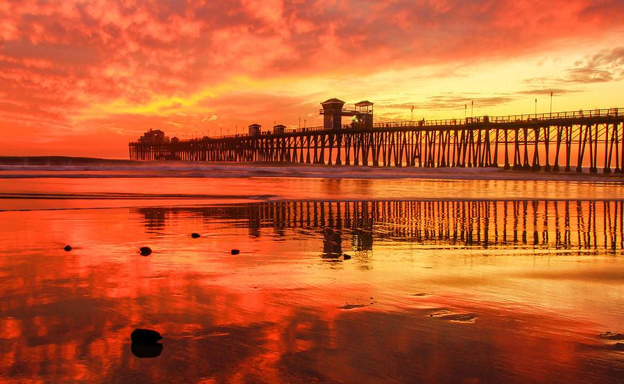 Oceanside Pier Photograph - Oceanside Fire by Robert  Aycock