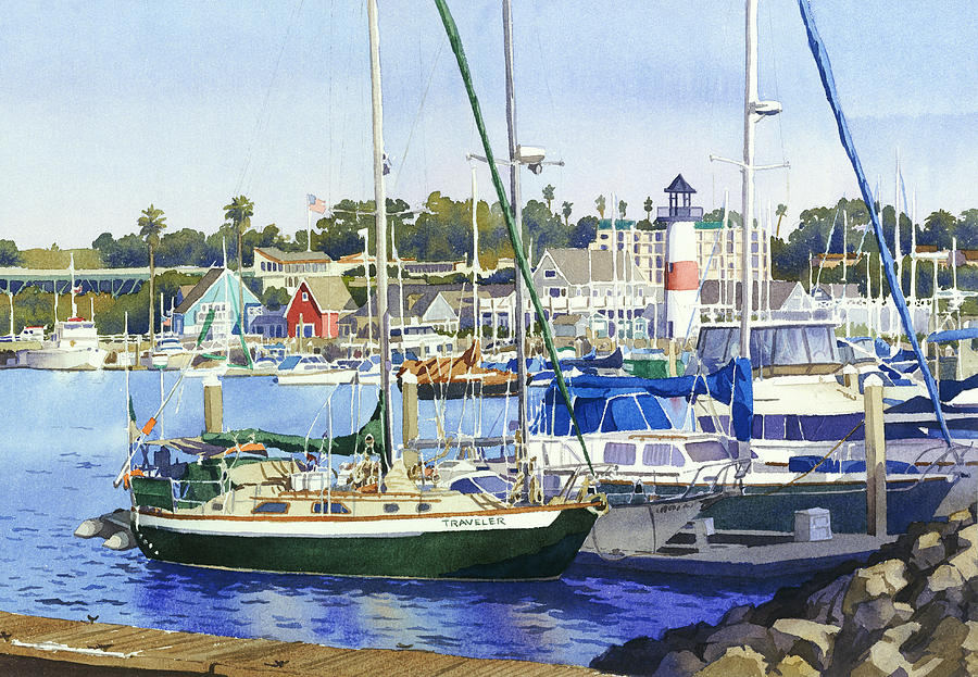 Boating Painting - Oceanside Harbor by Mary Helmreich