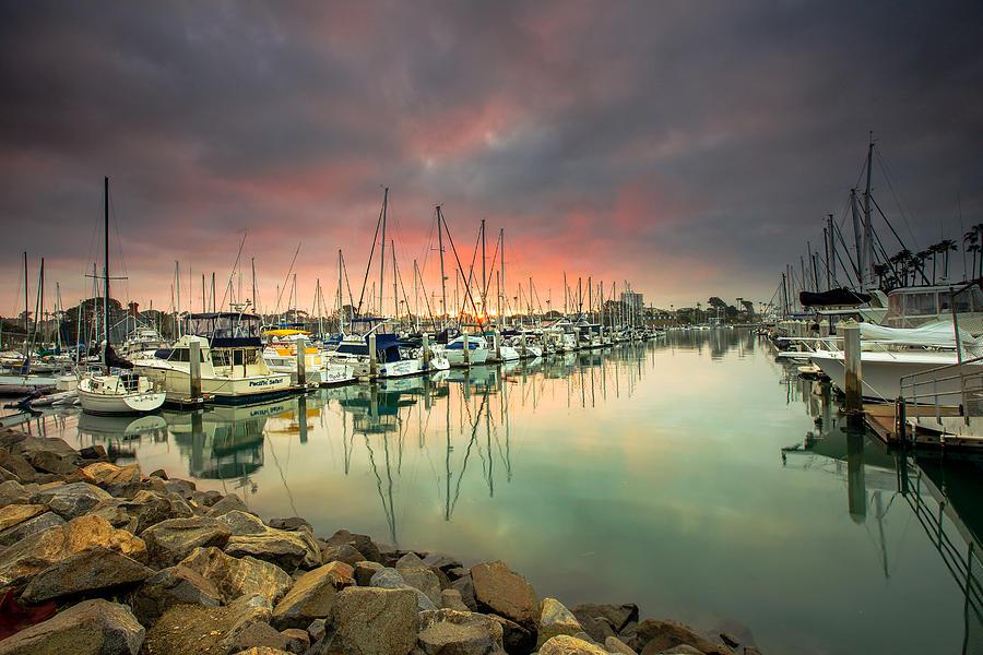 Harbor Photograph - Oceanside Harbor Sunrise by Robert  Aycock