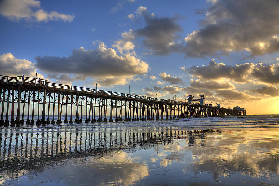 California Photograph - Oceanside Pier Sunset Reflection by Peter Tellone