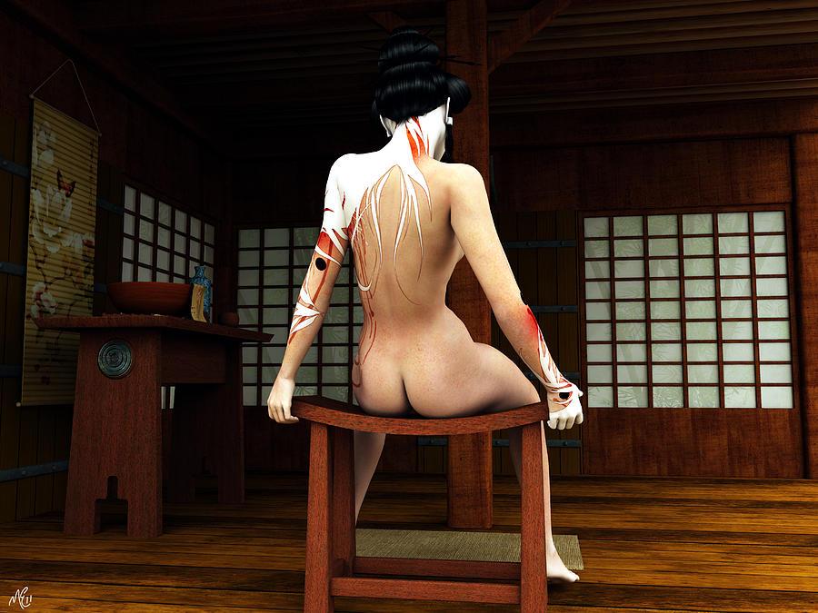 Digital Art Painting - Ochaya Geisha by Maynard Ellis