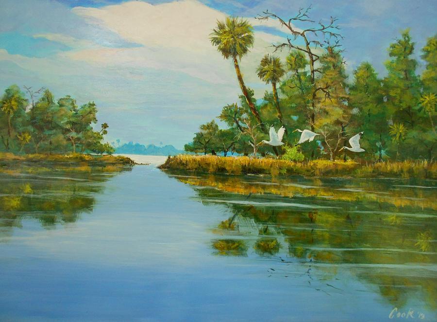 River Painting - Ochlocknee River by Michael Cook