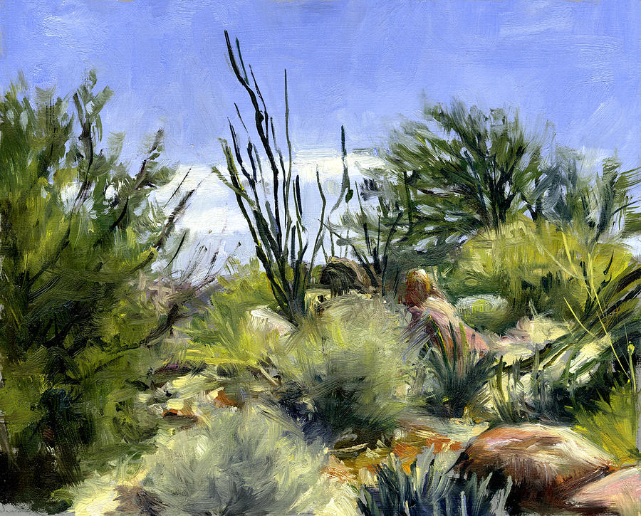Smoke Tree Painting - Ocotillo And Scrub Brush by Stacy Vosberg
