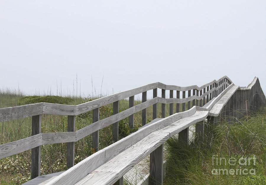 Sand Dunes Photograph - Ocracoke Boardwalk by Cathy Lindsey