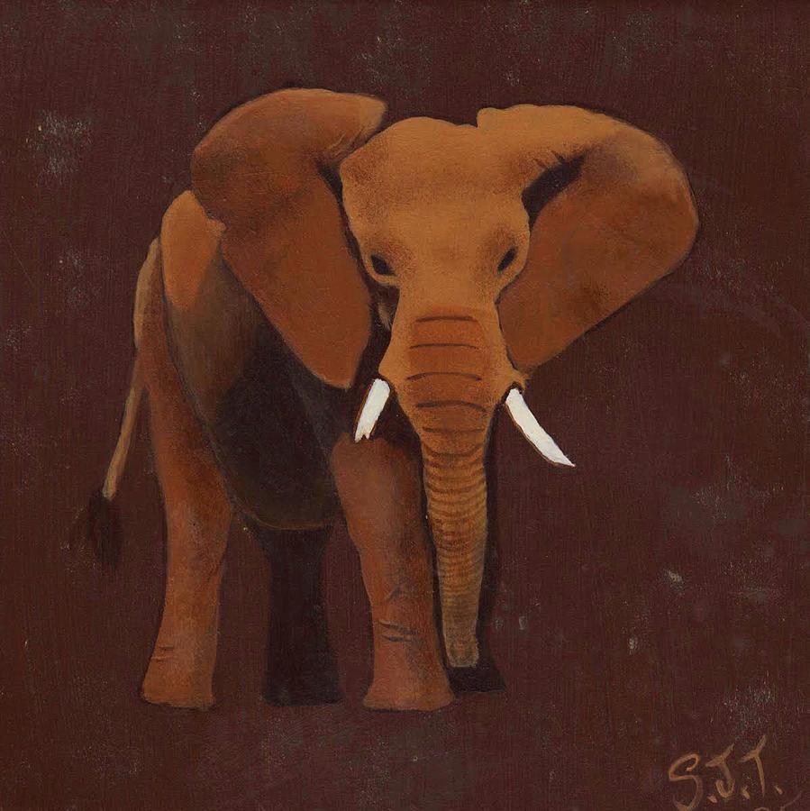 Elephant Painting - Ocre Elephant by Sandy Jasper