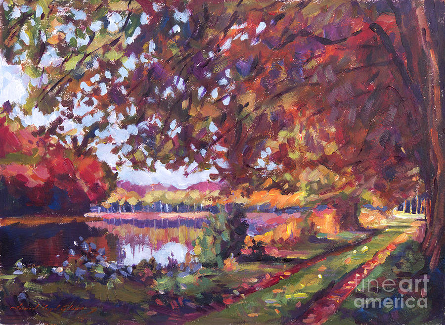 Landscape Painting - October Mirror Lake by David Lloyd Glover