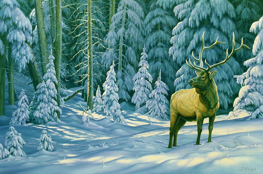 Wildlife Painting - October Snow by Paul Krapf
