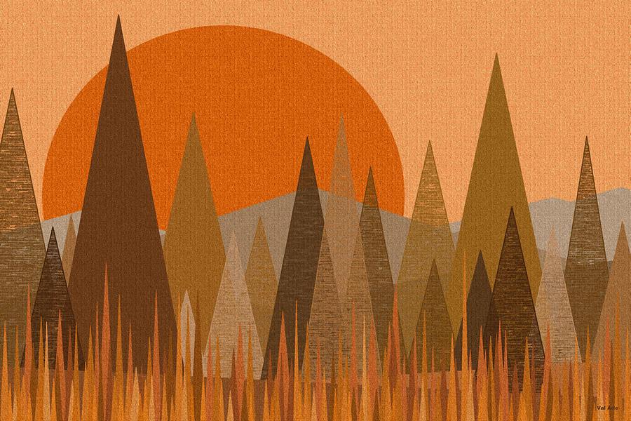 Orange Digital Art - October Sunset by Val Arie