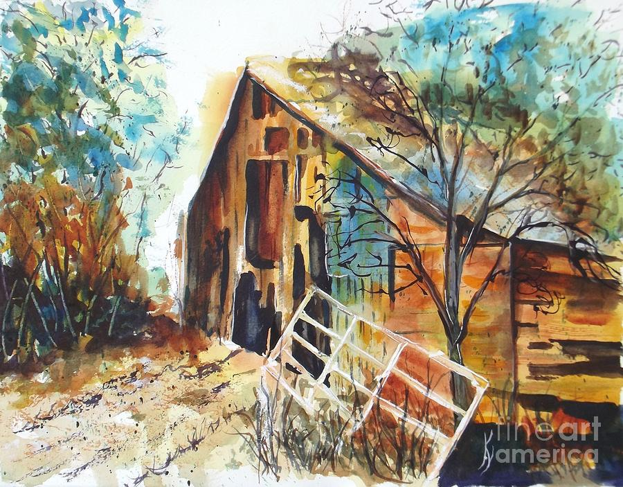 Rustic Painting - Octobers Barn by Kay Lodahl