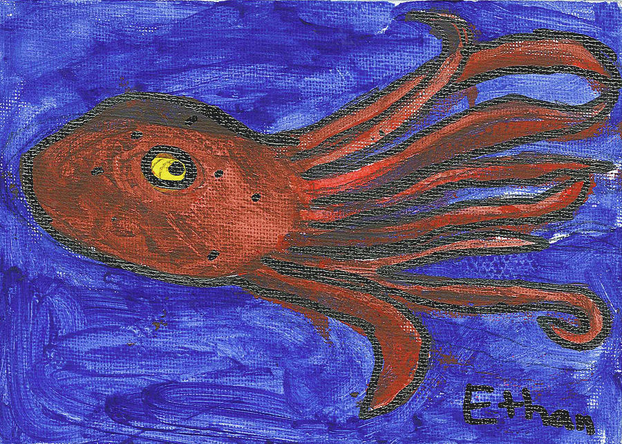 Octopus In The Deep Blue Painting by Fred Hanna