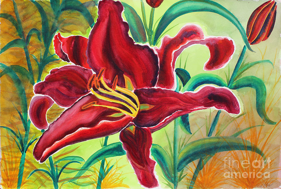 Lily Painting - Oddly Twisted by Shannan Peters
