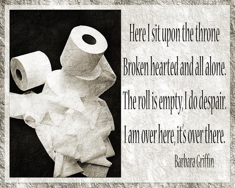 Bathroom Photograph - Ode To The Spare Roll Bw 2 by Andee Design