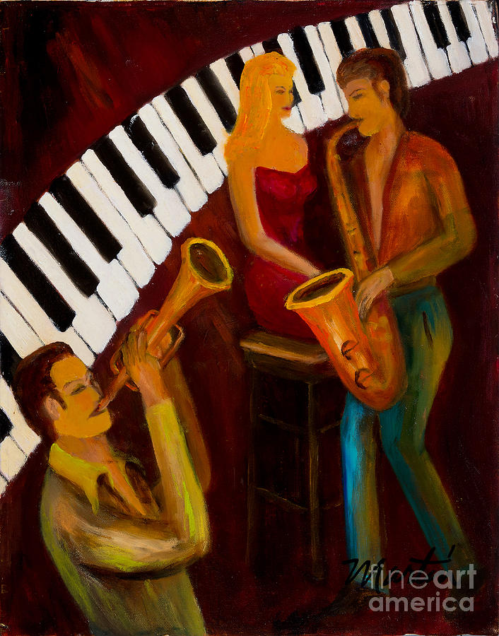 Jazz Painting - Ode To The Strawberry Blond by Larry Martin