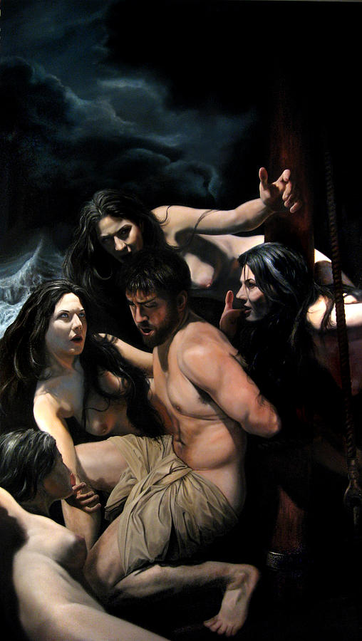 Fantasy Painting - Odysseus and the Sirens by Eric  Armusik