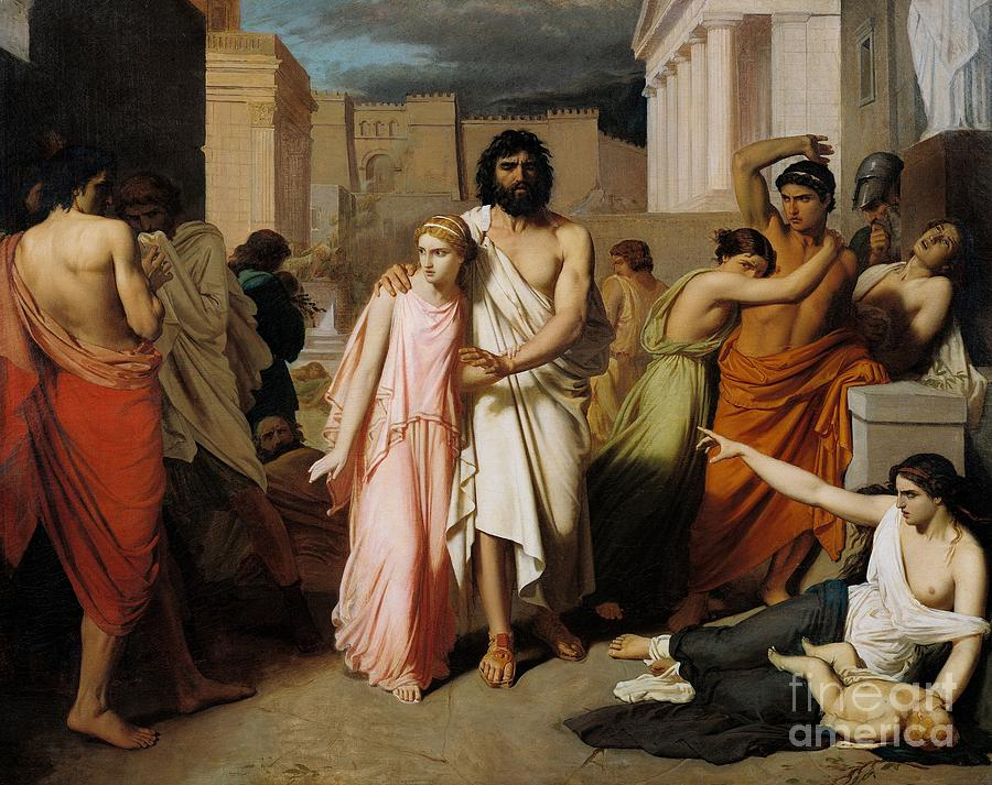 Disease Painting - Oedipus And Antigone Or The Plague Of Thebes  by Charles Francois Jalabert