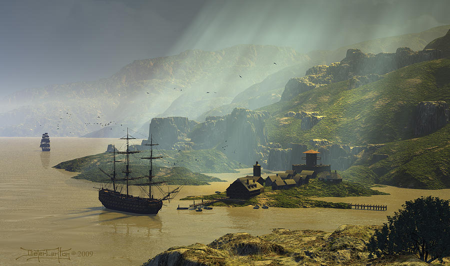 Sailing Ships Digital Art - Of A Time by Dieter Carlton