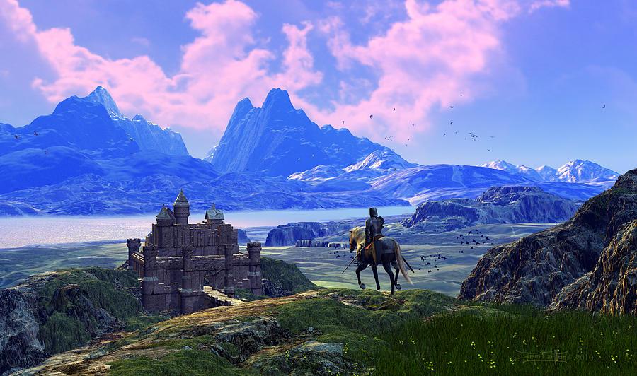 Castle Digital Art - Of Many Knights by Dieter Carlton