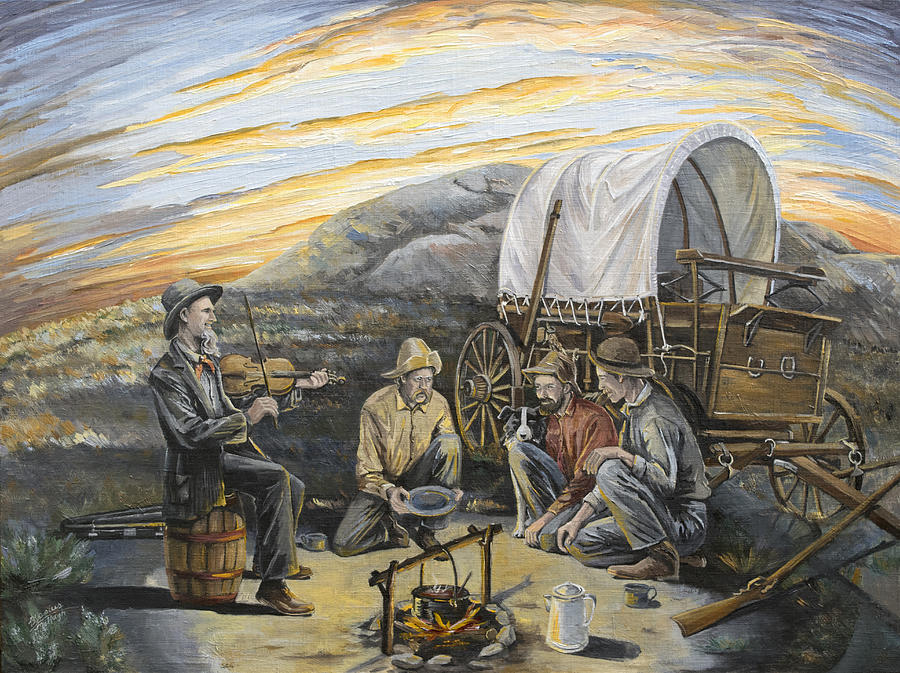 Gold Rush Painting - Off To California by Paula McHugh